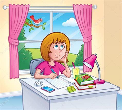 imagenes animadas haciendo tareas chica haciendo tarea en su habitaci 243 n fotos de stock
