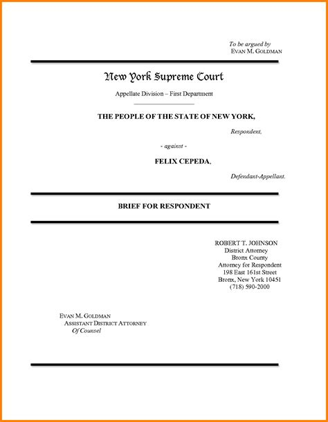 appellate brief template appellate brief cover page word template templates