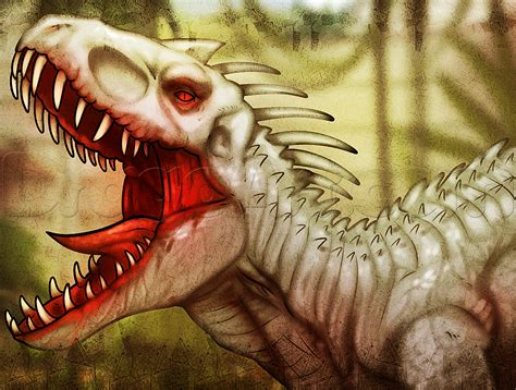 tutorial gambar dinosaurus how to draw indominus rex from jurassic world step by