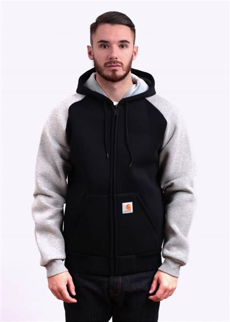 Jaket Towtone Black carhartt two tone car hooded jacket grey black