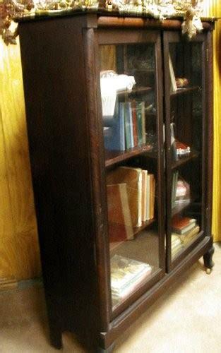mahogany bookcase glass doors original finish b1571 for