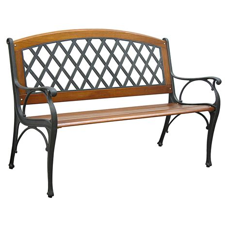 lowes benches shop garden treasures 25 in l steel iron patio bench at