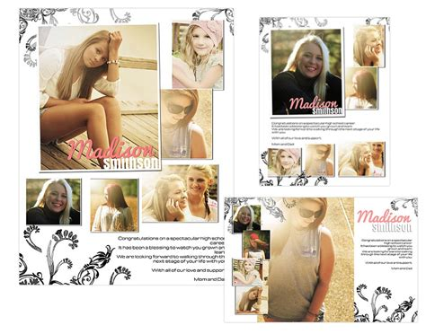 yearbook layout templates photoshop seniors ads yearbook templates madison 14 99
