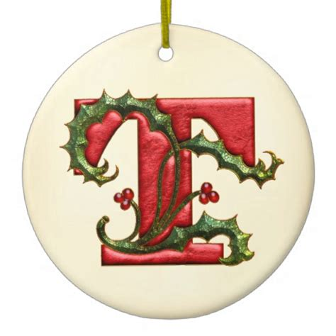 christmas holly monogram t christmas ornaments