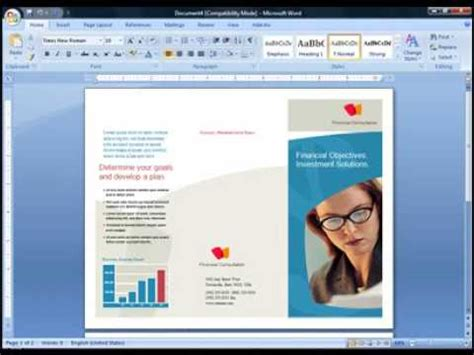cara membuat powerpoint di word cara membuat brosur di microsoft word 2007 flv youtube