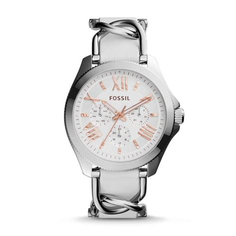 Fossil Blade Silverwhite fossil cecile multifunction stainless steel and leather silver tone and white bits