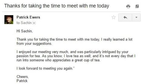 Thank You Letter After A Meeting Choice Image Letter Format Formal Sle Heads Up Email Template