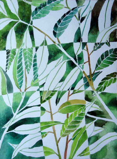 negative  positive painting watercolor leaves