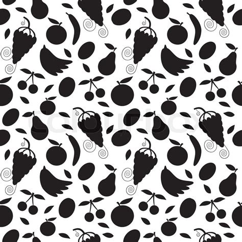nature pattern black and white black silhouette fruits on white seamless pattern and
