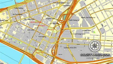 pittsburgh pa map pittsburgh pennsylvania us printable vector city