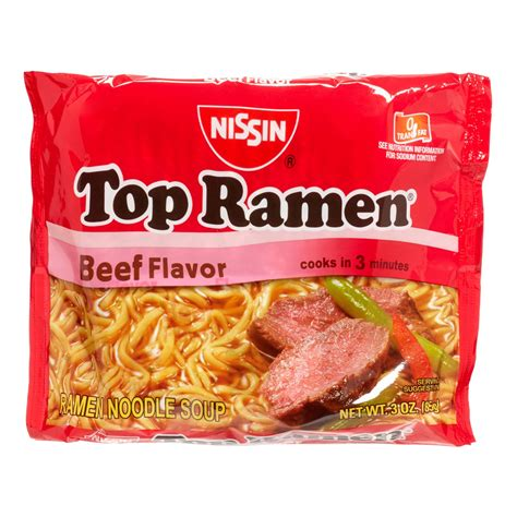 Top Ramen nissin top ramen noodle soup beef 3 oz pack of 12 jet