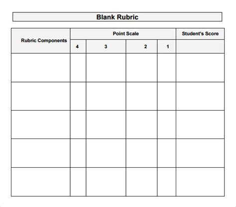 rubrics templates sle blank rubric 9 documents in word pdf