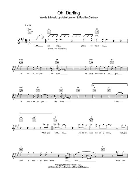 oh darling sheet music by the beatles piano vocal oh darling chords by the beatles melody line lyrics