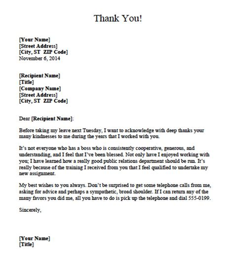 Thank You Letter For Supervisor Thank You Letter Templates Text Word Pdf Wikidownload