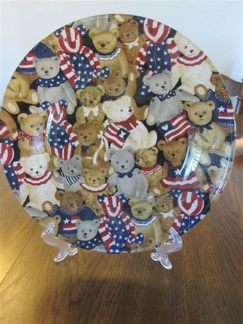 decoupage plates with fabric 10 1 2 quot clear glass plate with patriotic teddy fabric