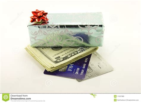 Gift Card With Money - gift with money and credit cards royalty free stock photo image 11537985
