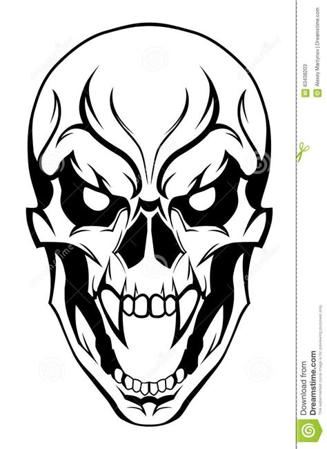 cartoon skull tattoo designs evil skull stock vector image 63438203