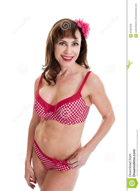 middle aged in bathing suits beautiful middle aged woman portrait in bathing suit stock