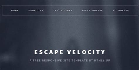 escape velocity template 12 fresh free templates in html css psd smashingapps