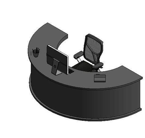 semi circle desk revitcity object semi circle desk with computer