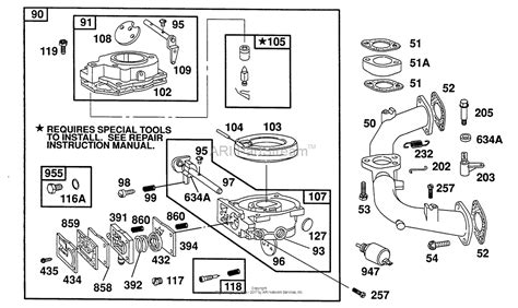 briggs and stratton carburetor diagram briggs and stratton 402777 1201 01 parts diagram for