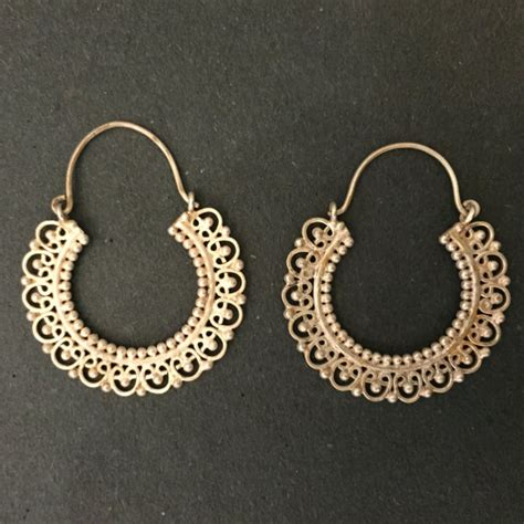 Handcrafted Gold Earrings - items similar to gold plated silver indian handmade hoop