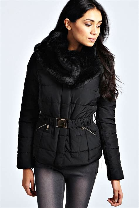 Faux Fur Collar Padded Jacket evie faux fur collar belted padded jacket black black