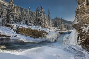 mountain forest christmas tree river waterfall snow next