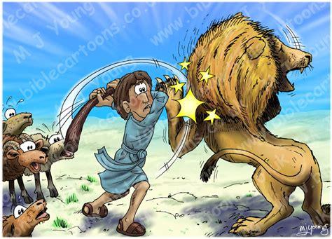 bible cartoons 1 samuel 17 david goliath scene 06 david lion
