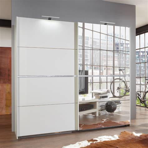 swiss white sliding wardrobe with mirrors and