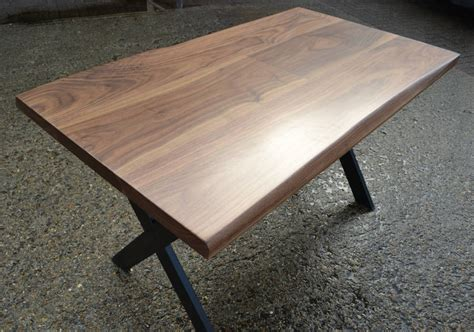 black walnut desk top desk solid black walnut x leg design by hairpins