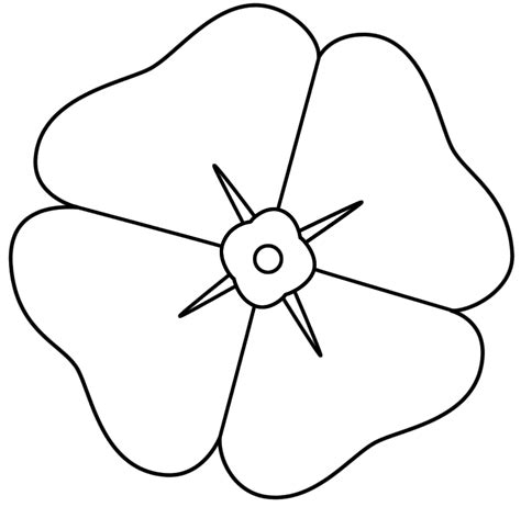 poppy template to colour remembrance day poppy colouring pages coloring home