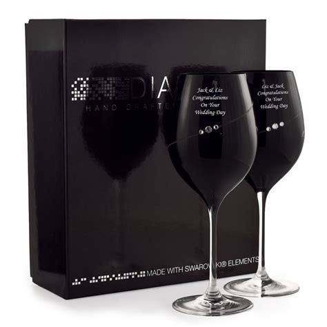 Personalised Black Wine Glasses With Swarovski Elements