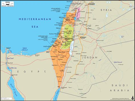maps of jerusalem israel wall map maps