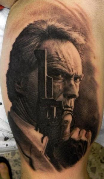 clint eastwood tattoo shoulder realistic clint eastwood by xavi