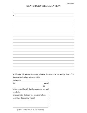 Stat Deck Form by Form Statutory Declaration Fill Printable