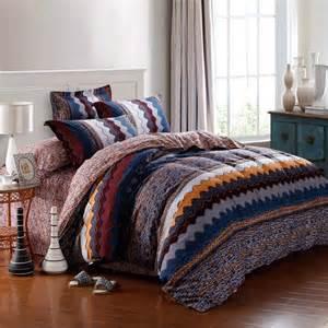 Duvet Sets Queen Size Navy Blue Orange And Brown Aztec Zigzag Stripe