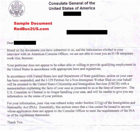 Letter From Employer To American Embassy sle 221 g h1b visa refusal letter from us