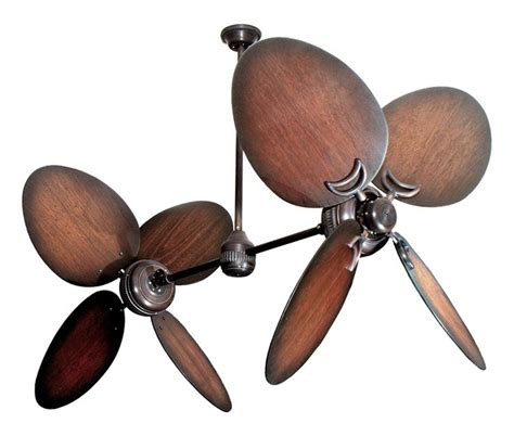 dual blade ceiling fan bronze dual ceiling fan with 50 quot distressed walnut large