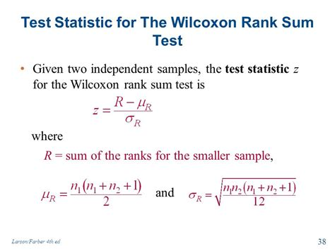 wilcoxon test chapter 11 nonparametric tests larson farber 4th ed ppt