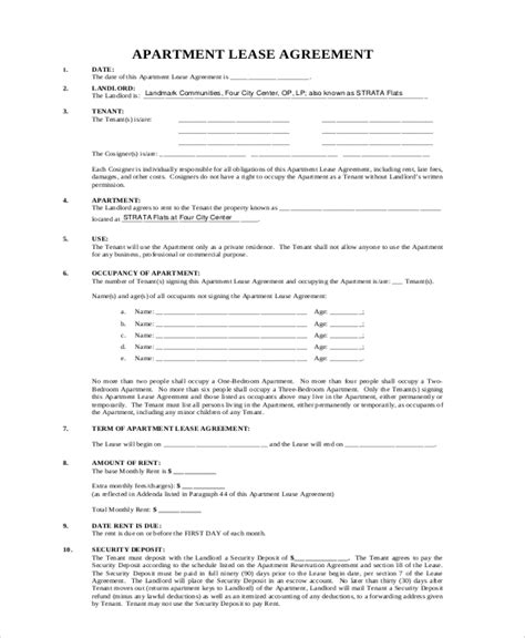 printable one year lease agreement sle apartment lease agreement 8 exles in word pdf