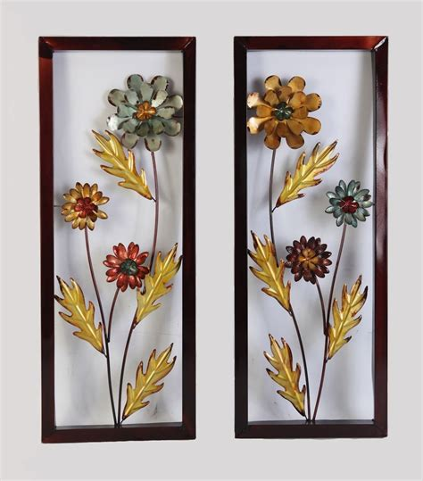 flower decor for home framed yellow blue metal flower wall decor accent for