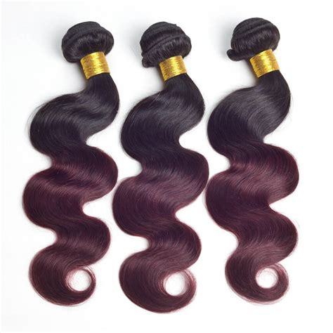 colored hair bundles wave ombre hair two tone colored 1b 99j 100