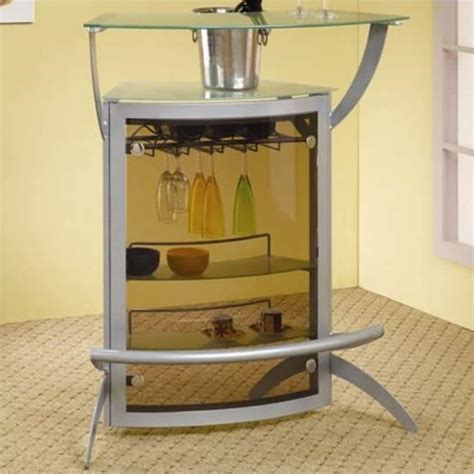 coaster contemporary metal glass top home bar unit in