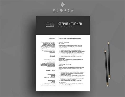 cv template clean resume resume template word design