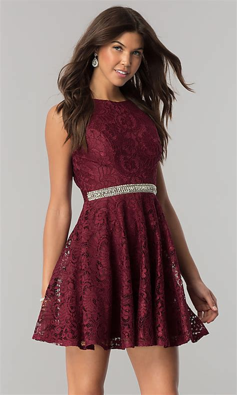 jeweled waist burgundy red short party dress promgirl