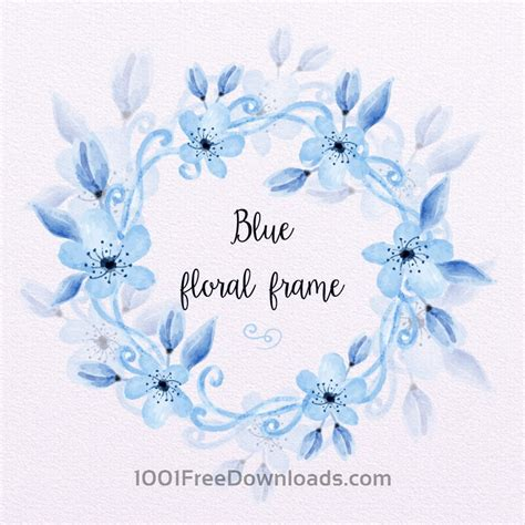 vectors blue watercolor floral frame backgrounds