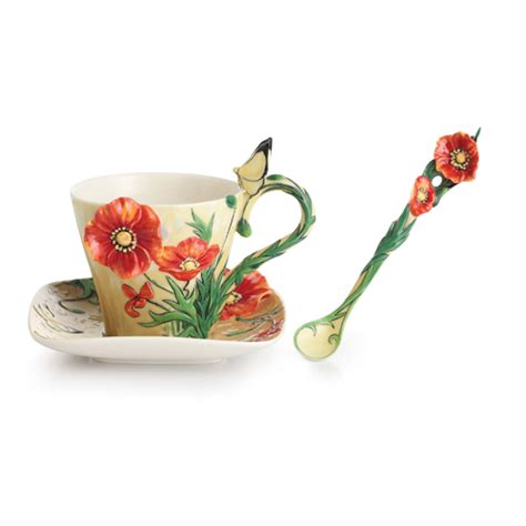 franz collection porcelain gogh poppy flower cup
