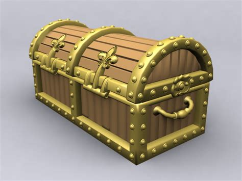 Max And Treasure Box by Pirate Treasure Chest 3d Model 3ds Max Lightwave Files