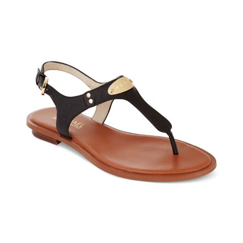 black sandals michael kors michael mk plate flat thong sandals in black
